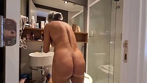 Brazilian dark haired with large, hard hooters, Bianca Naldy is getting banged outlander the back, in the shower