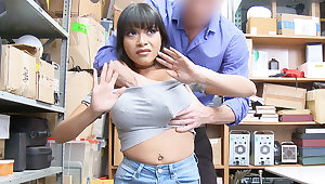 Guard bang together with pulverize huge-chested Latina after stealing