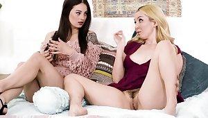 Blonde MILF gives stepdaughter a lesbian homework in the bedchamber