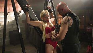 Innocent looking blonde Gabi Gold loves handcuffs and bondage
