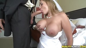 Sexy bride Alanah Rae cheats on the brush groom with best friend!