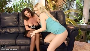 Matured and young lesbians are licking well