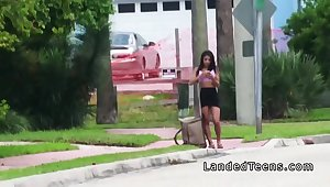 The man Latina teen bangs in all directions make an issue of car in all directions public