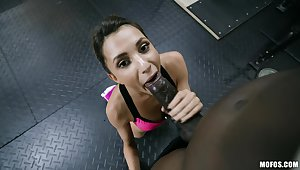 Chubby black dick penetrated deep in petite Hime Marie in the gym