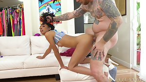 Throat fuck increased by rough fingering increased by banging for stunning Jada Doll