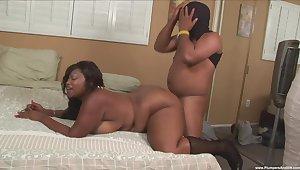 Chubby ebony mature deep fucked on cam by a horny male