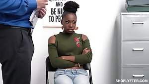 Shoplifting ebony babe Anne Amari is punished by white anchor guy