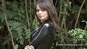 Good latex fetish singular show outdoors by charming blue whore