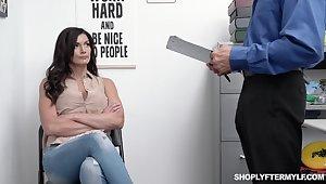 A sprinkling bothered brunette Becky Bandini bends over rental man fuck her