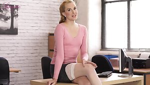 Hot office lady Ariel stripteases and poses in her nylon tights