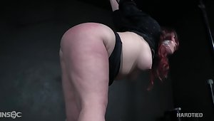 Voluptuous redheaded bitch with a big ass gets punished by will not hear of thraldom dab hand