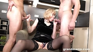 Rich old woman enjoys first time threesome sex relative to two young men
