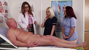 Older mendicant gets his cock pleasured away from horny Anna Joy and friends