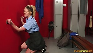 Clothed blonde girl enjoys to dicks through the glory hole