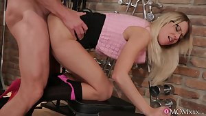 Impressive blonde Adrienne gives an older fitness buff the fuck of his life