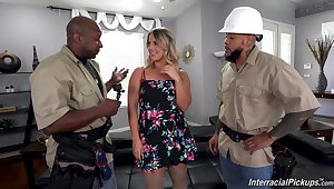 Horny workers handle this house alone wife in proper XXX threesome
