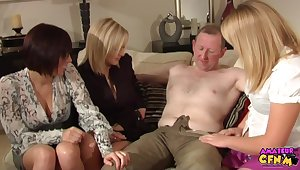 Older scrounger with a stiff cock gets handjobs away from Becky and her friends