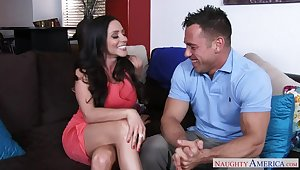 Ariella Ferrera fucking in the couch with her outie pussy