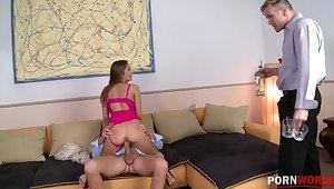 Sexy teen slut Irina Bruni sanwiched & DP'ed until she screams and creams GP1101